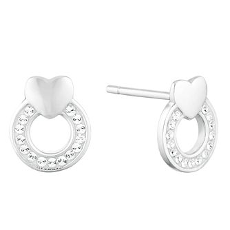 2f4b26297 Evoke Silver Crystal Circle Heart Stud Earrings - Product number 9665943