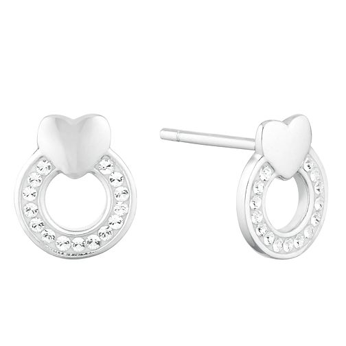 Evoke Silver Crystal Circle Heart Stud Earrings - Product number 9665943