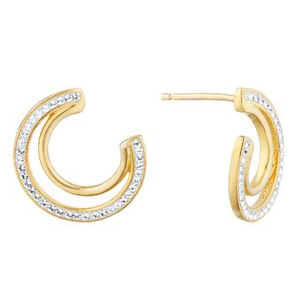 Evoke Yellow Gold Plated Crystal Crescent Stud Earrings - Product number 9665951