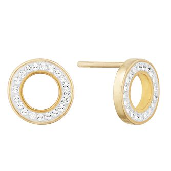 Evoke Silver Yellow Gold Plated Crystal Halo Stud Earrings - Product number 9665978