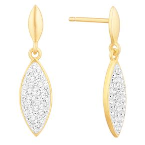 Evoke Yellow Gold Plated Crystal Marquese Drop Earrings - Product number 9666001