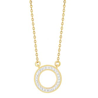 Evoke Yellow Gold Plated Crystal Halo Necklace - Product number 9666109