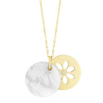 9ct Yellow Gold Mother of Pearl Flower Pendant - Product number 9666125