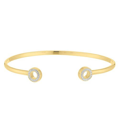 Evoke Silver Yellow Gold Plated Crystal Bangle - Product number 9666230