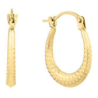 9ct Yellow Gold Textured Creoles Earrings - Product number 9666478