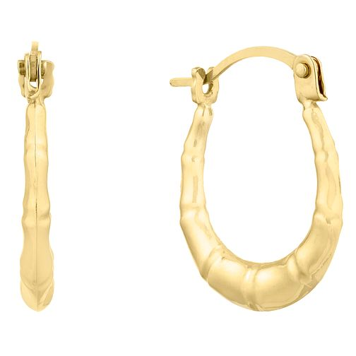 9ct Yellow Gold Bamboo Creoles Earrings - Product number 9666486