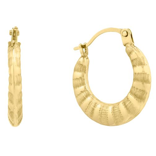 9ct Yellow Gold Matte Shiny Stripe Creole Earrings - Product number 9666494