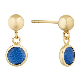 9ct Yellow Gold Blue Crystal Stone Drop Earrings - Product number 9668160