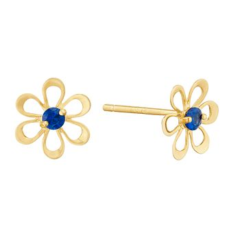 9ct Yellow Gold Blue Cubic Zirconia Flower Stud Earrings - Product number 9668578