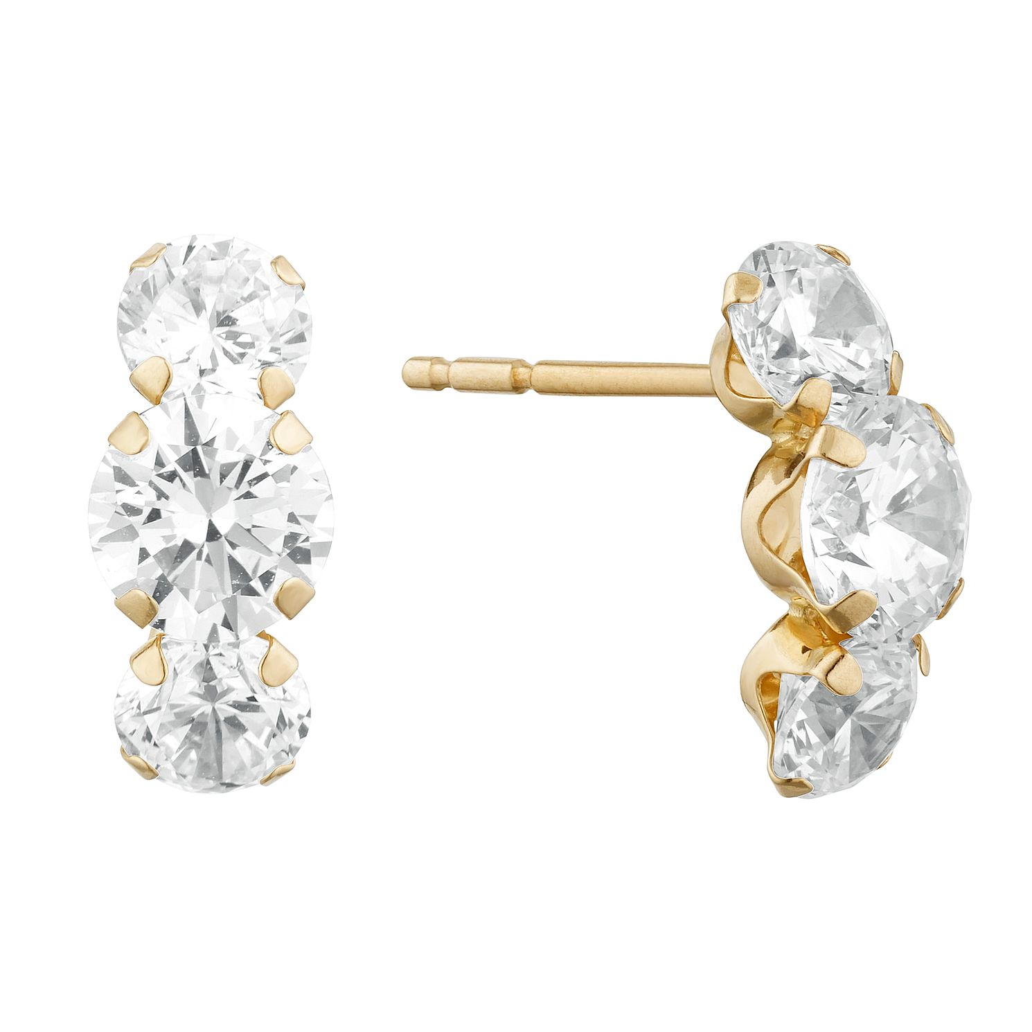 9ct Yellow Gold 3 Cubic Zirconia Stud Earrings - Product number 9668594