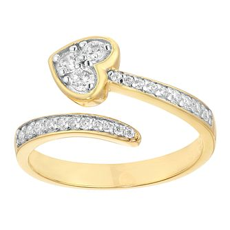 Silver Yellow Gold Plated Cubic Zirconia Heart Open Ring - Product number 9676155