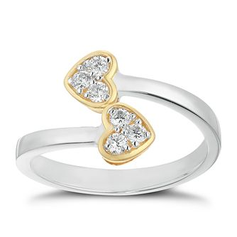 Silver & 9ct Yellow Gold Cubic Zirconia  Ring - Product number 9676422