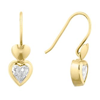 9ct Yellow Gold Heart Rubover Drop Earrings - Product number 9684050