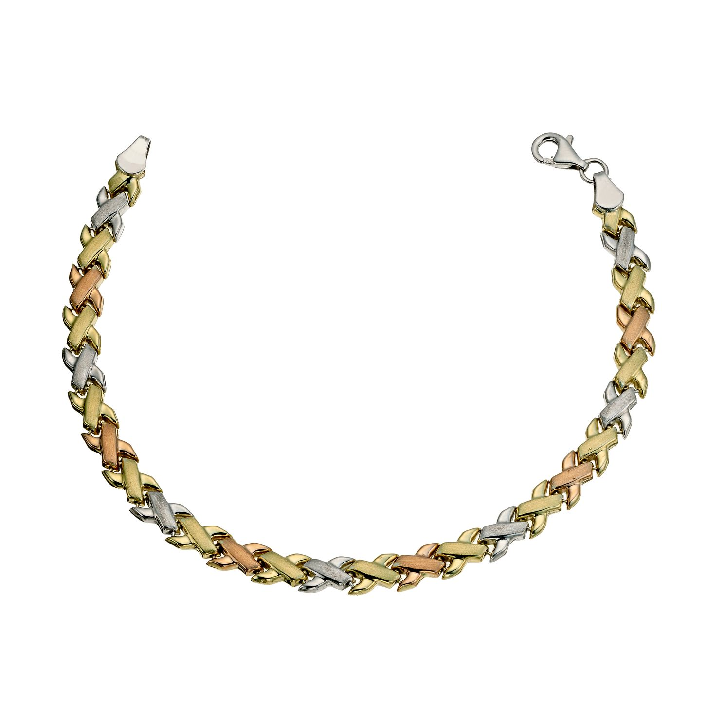 Together Bonded 3 Colour Gold Kiss Bracelet 7.25 inches - Product number 9684352