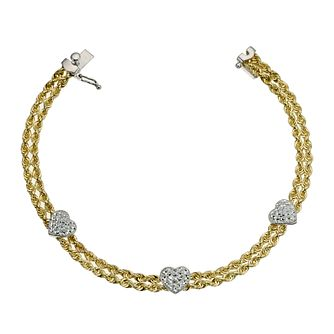 Together Silver & 9ct Bonded Gold Rope 7.25 inches Bracelet - Product number 9684379