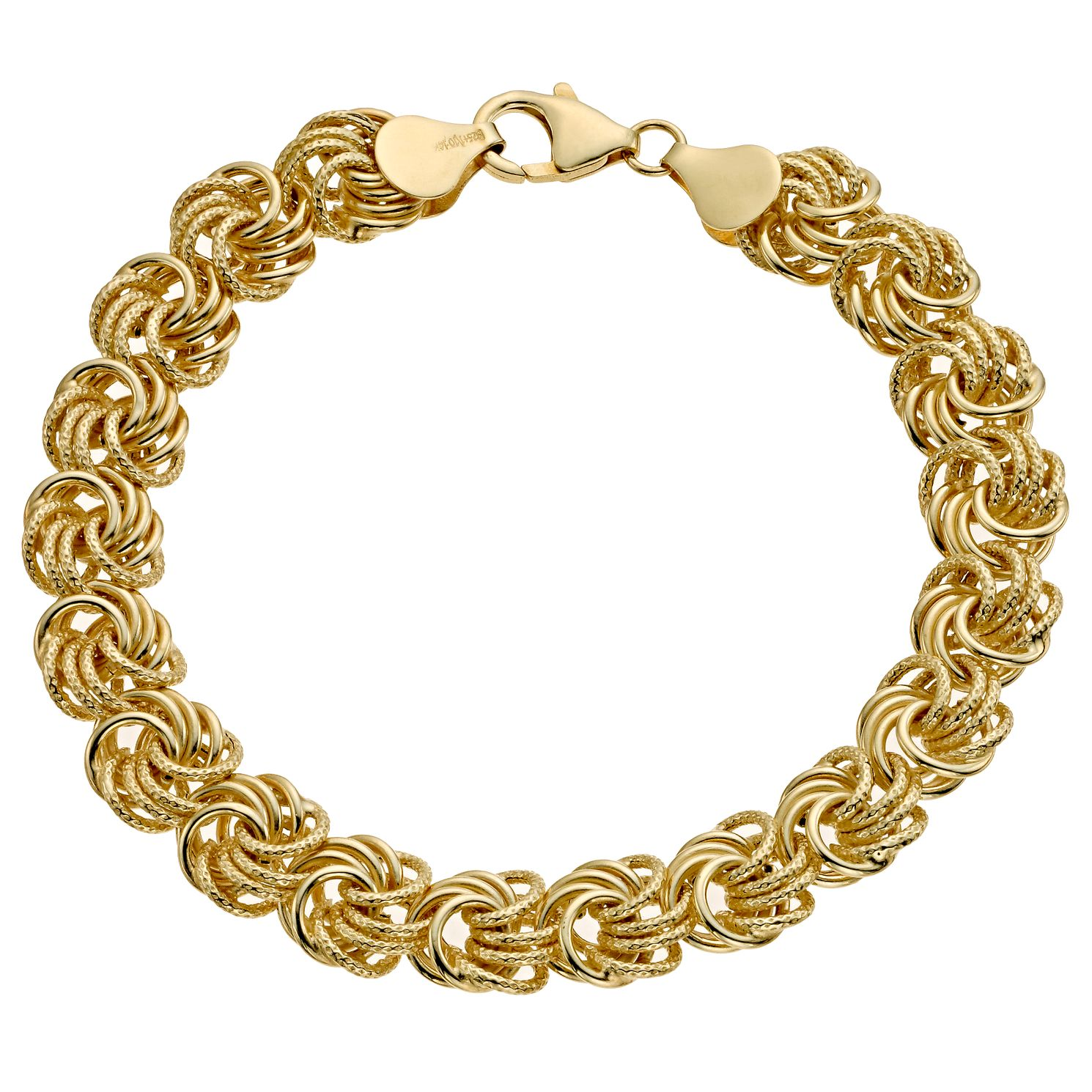 Together Bonded Silver & 9ct Yellow Gold Swirl Link Bracelet - Product number 9687246
