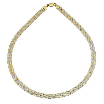 "Together Silver & 9ct Bonded Gold Two Colour Necklace 17.5"" - Product number 9687602"