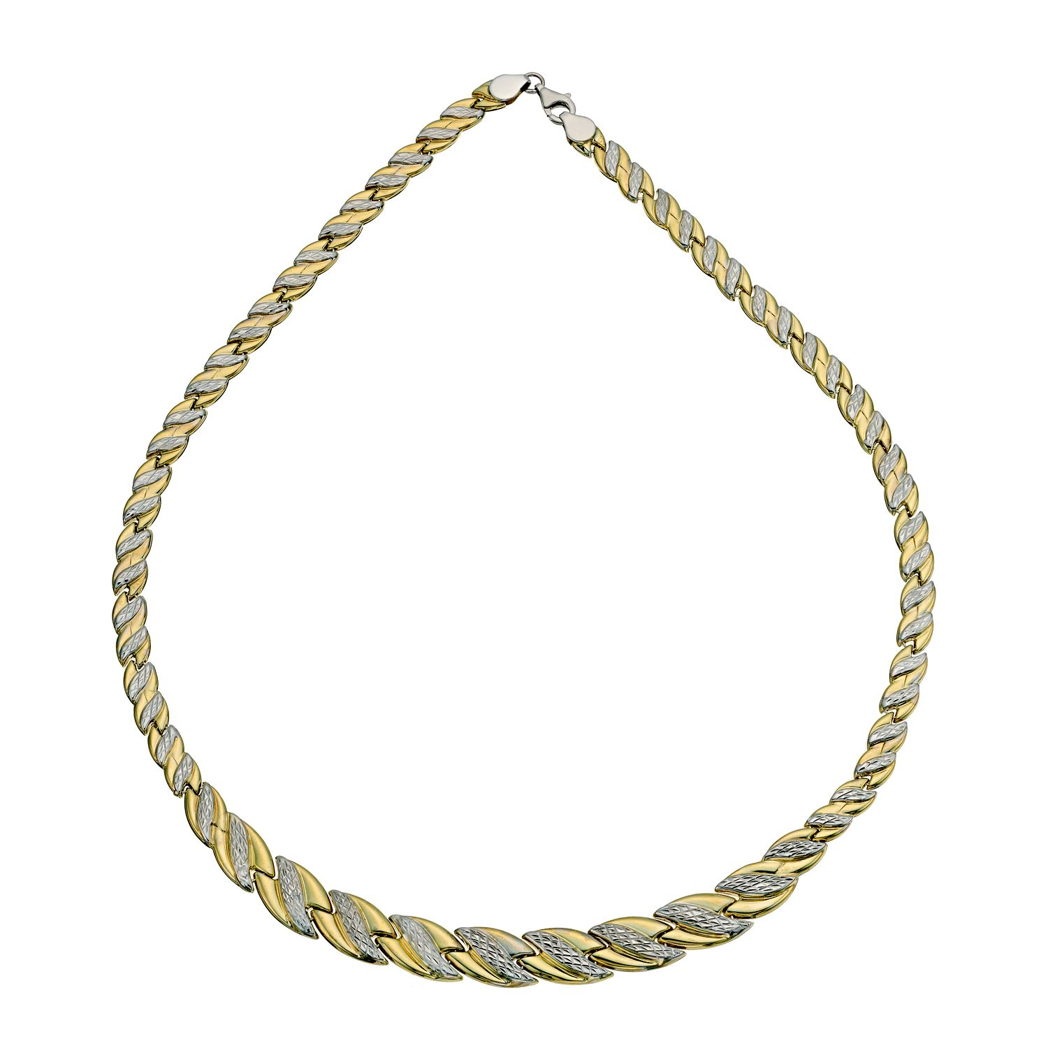 Together Silver & 9ct Bonded Gold Wave Necklace 17