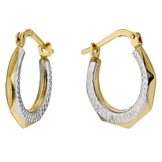Together Bonded Silver & 9ct Gold Creole Earrings - Product number 9689249