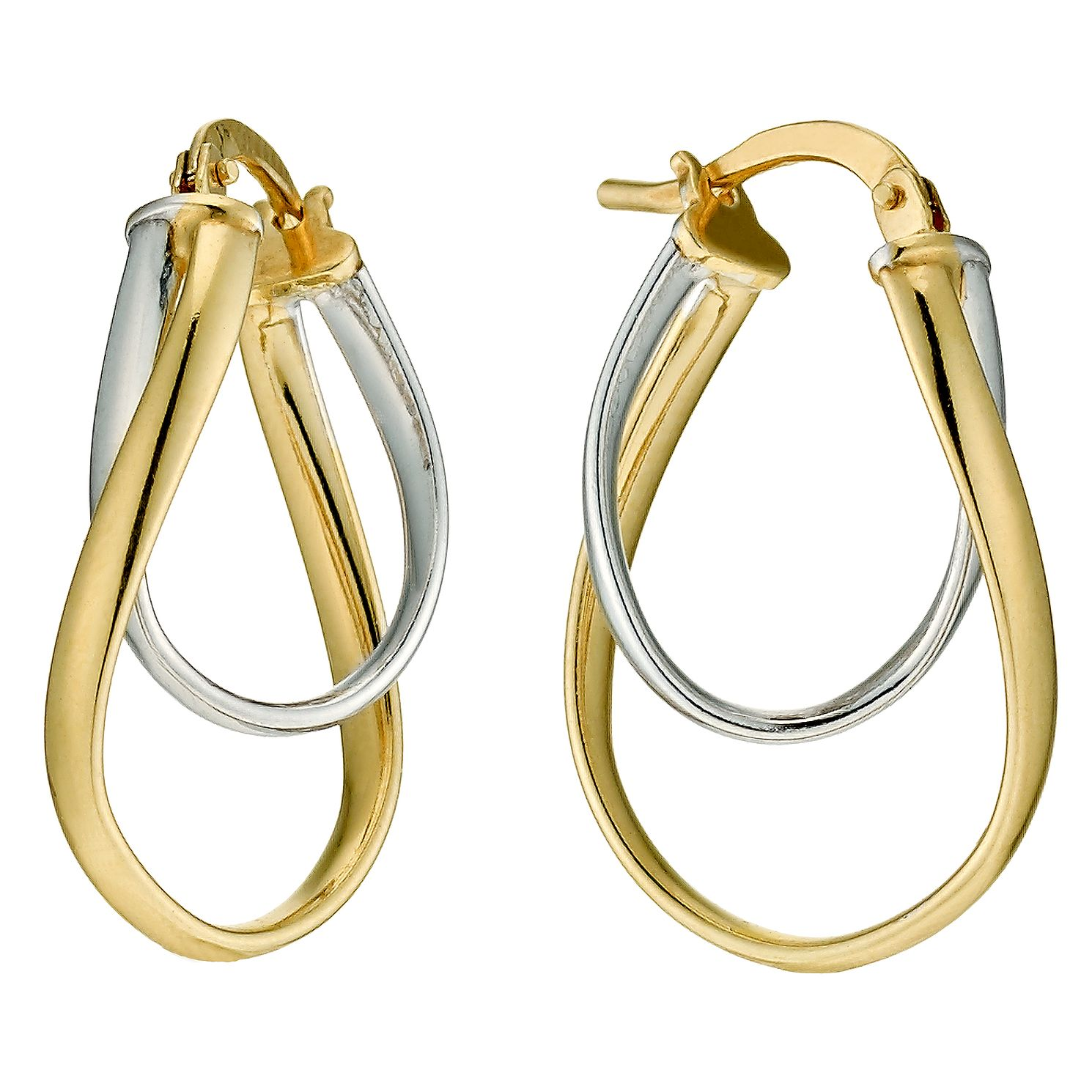 Together Silver & 9ct Bonded Gold Double Creole Earrings - Product number 9689400