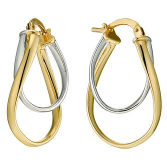 Together Silver & 9ct Bonded Gold Double Oval Hoop Earrings - Product number 9689400