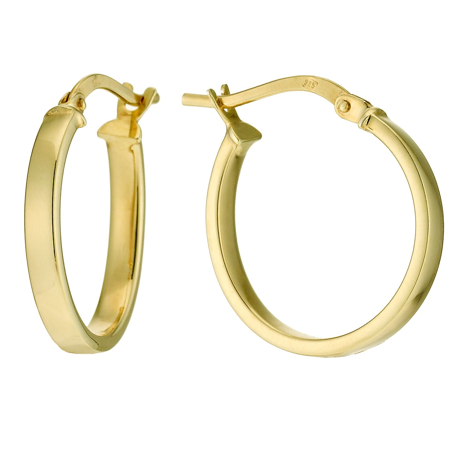 Together Silver & 9ct Bonded Gold 15mm Hoop Earrings - Product number 9689419