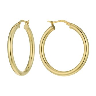 Together Silver & 9ct Bonded Gold 25mm Hoop Earrings - Product number 9689435