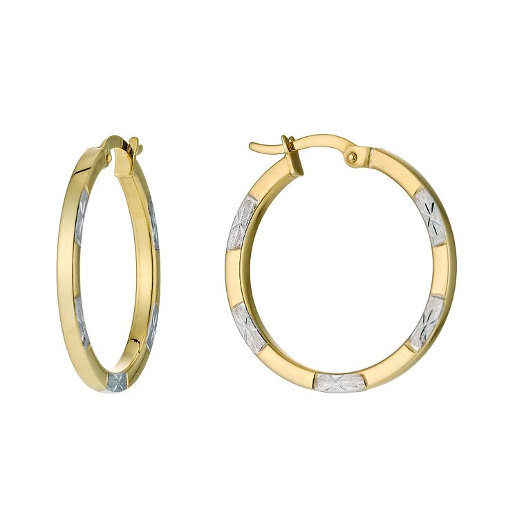 1142f4325 Together Silver & 9ct Bonded Gold Creole Earrings - £29.99 - Bullring &  Grand Central