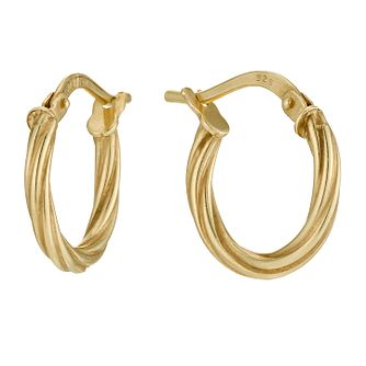 Together Silver & 9ct Bonded Gold 15mm Twist Hoop Earrings - Product number 9690867