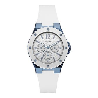 Guess Ladies' Blue and White Silicone Strap Watch - Product number 9691707