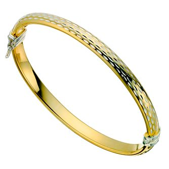 Together Silver & Bonded Gold Diamond Cut Bangle - Product number 9694188