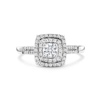 Tolkowsky 18ct white gold 1/2ct I-I1 diamond halo ring - Product number 9708677