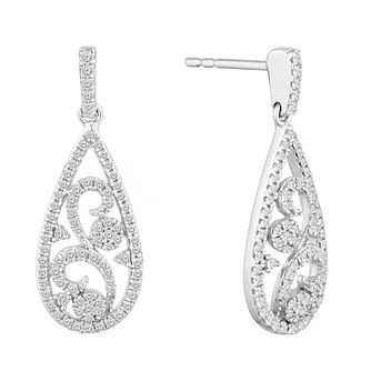 9ct White Gold 1/2ct Diamond Filigree Drop Earrings - Product number 9728457
