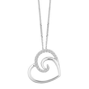 9ct White Gold 0.10ct Diamond Heart Pendant - Product number 9728473