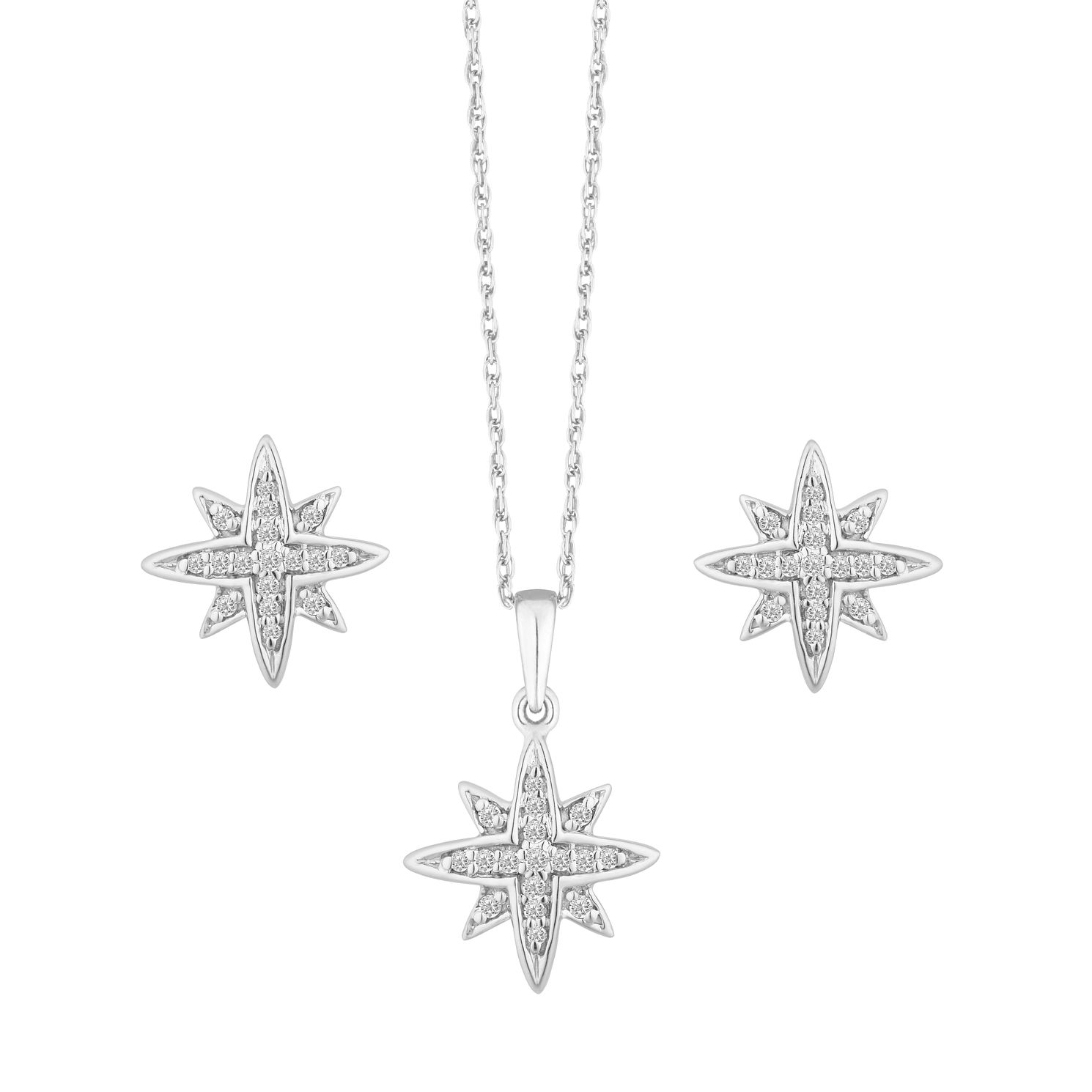 Silver 1/5ct Diamond Star Stud Earring & Pendant Set - Product number 9728767