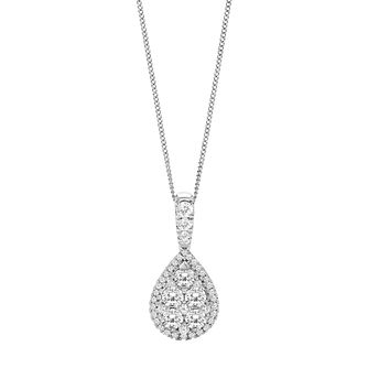 18ct White Gold 1ct Diamond Pear Cluster Pendant - Product number 9728783