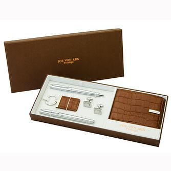 Jos Von Arx Brown Leather & Silver Tone Gift Set - Product number 9728880
