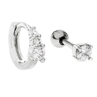 Bodifine Silver CZ Cartilage Ring & Stud Earring Set - Product number 9729453