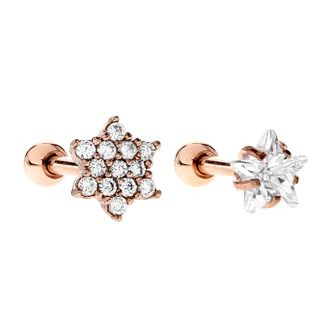 Bodifine Cubic Zirconia Rose Gold Plated Cartilage Set - Product number 9729461