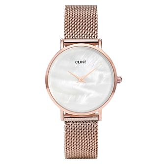 Cluse Ladies' Minuit La Pearle Rose Gold Mesh Strap Watch - Product number 9733892