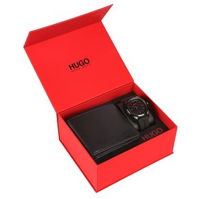 Hugo Boss Black Silicone Strap Watch Black Dial & Wallet Set - Product number 9734023