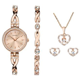 Sekonda Ladies' Rose Gold Tone Watch & Jewellery Gift Set - Product number 9734260