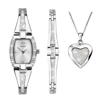 Sekonda Crystal Bracelet Watch, Heart Pendant & Bracelet Set - Product number 9734279