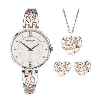 Sekonda Tree Of Life Two-Tone Watch, Pendant & Earrings Set - Product number 9734287
