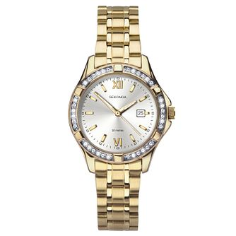 Sekonda Ladies' Gold-Plated Crystal Bracelet Watch - Product number 9734317
