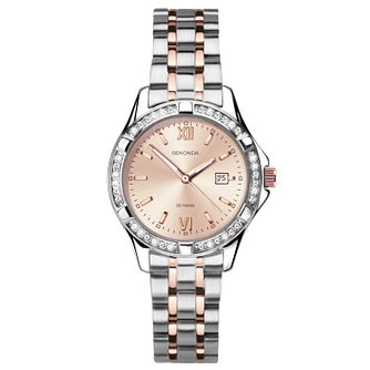 Sekonda Ladies' Two-Tone Crystal Rose Bracelet Watch - Product number 9734325