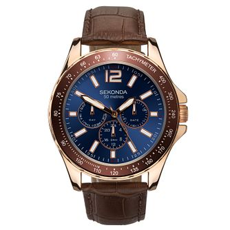 Sekonda Men's Multi-Function Brown Leather Strap Watch - Product number 9734341
