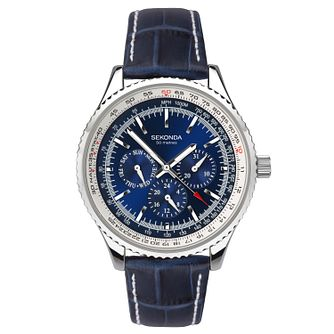 e51f1d71e185 Sekonda Men s Multi-Function Blue Leather Strap Watch - Product number  9734368