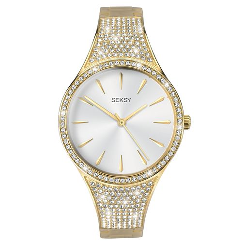 Seksy Gold Plated Stone Set Bracelet Watch - Product number 9734430