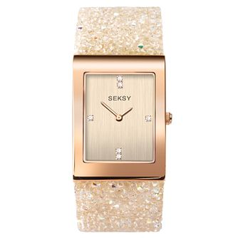 Seksy Rocks® Rose Gold Plated Bracelet Watch - Product number 9734538